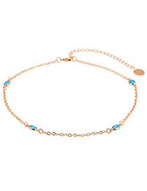 Elegant Gold Color Oval Shape Gemstone Decorated Simple Choker