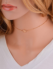 Elegant Gold Color Round Shape Decorated Pure Color Choker