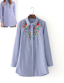 Vintage Blue Embroidery Decorated Long Shirt