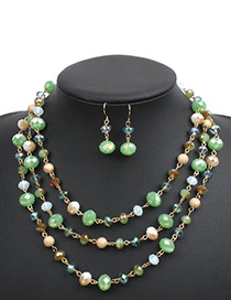 Fashion Green Beads Decorated Multi-layer Jewelry Sets