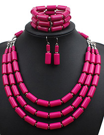 Fashion Plum Red Pure Color Decorated Multi-layer Jewelry Sets