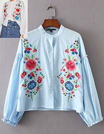 Trendy Blue Embroidery Flower Decorated Long Sleeves Shirt