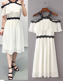 Trendy White Off-the-shoulder Design Lace Long Dress