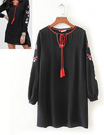 Trendy Black Tassel&flower Decorated Long Sleeves Dress