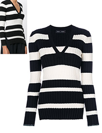 Trendy Black+white Stripe Pattern Decolrated V Neckline Sweater
