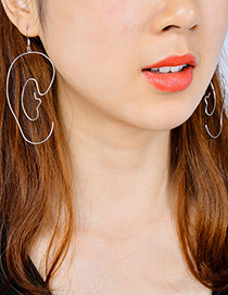 Exaggerated Silver Color Pure Color Decorated Hollow Out Earrings