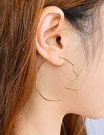 Fashion Gold Color Pure Color Decorated Face Shape Earrings