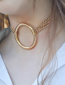 Trendy Gold Color Circular Ring Decorated Pure Color Choker