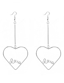 Fashion Silver Color Heart Shape Decorated Long Earrings