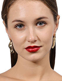 Fashion Gold Color Mask Shape Decorated Pure Color Earrings