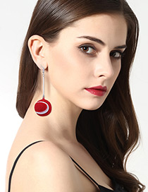 Fashion Red Golf Shape Decorated Long Earrings