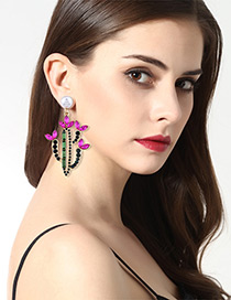 Personality Pink+green Cactus Shape Decorated Earrings