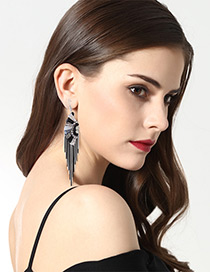 Fashion Black+white Color-matching Decorated Tassel Earrings