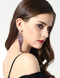 Fashion Pink Color-matching Decorated Tassel Earrings