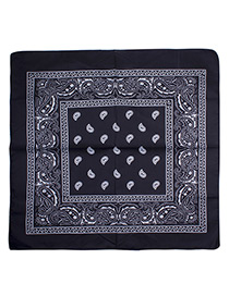 Bohemia Black Color-matching Decorated Tassel Sqaure Scarf