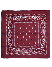 Bohemia Red Color-matching Decorated Tassel Sqaure Scarf