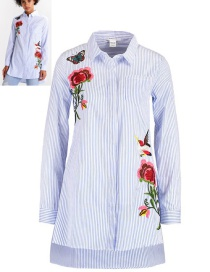 Fashion White+blue Flower&butterfly Pattern Decorated Shirt
