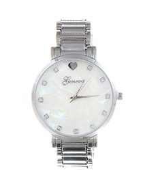 Fashion Silver Color Round Dial Design Pure Color Watch