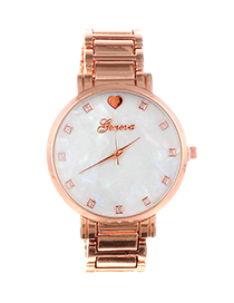 Fashion Rose Gold Round Dial Design Pure Color Watch
