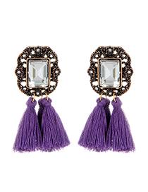 Fashion Purple Square Shape Diamond Decorated Tassel Earrings