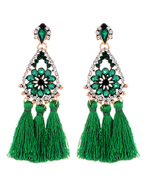 Fashion Green Flower Shape Decorated Tassel Earrings