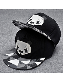 Trendy Black Cartoon Panda Pattern Decorated Hip-hop Cap(adjustable)