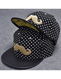Trendy Black Beard&dot Pattern Decorated Hip-hop Cap(adjustable)
