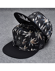 Trendy Black Maple Leaves Decorated Hip-hop Cap(adjustable)
