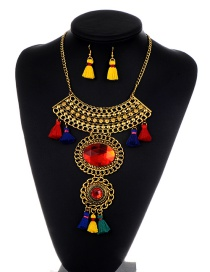 Fashion Gold Color Tassel&diamond Decorated Jewelry Sets