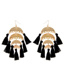 Fashion Black Semicircle Shape Decorated Tassel Earrings