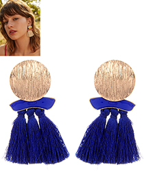 Fashion Sapphire Blue Round Shape Decorated Tassel Earrings