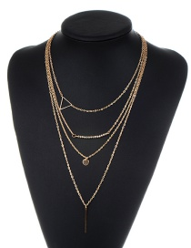Fashion Gold Color Triangle Shape Decorated Multi-layer Necklace
