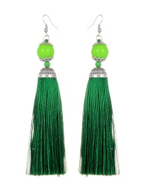 Fashion Green Tassel Decorated Pure Color Earrings