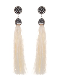 Bohemia Beige Long Tassel Decorated Earrings