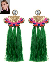 Bohemia Green Clouds Shape Decorated Tassel Earrings