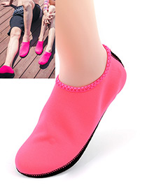 Fashion Pink Pure Color Decorated Beach Socks