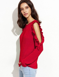 Elegant Red Pure Color Decorated Sweater
