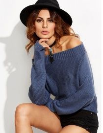 Sexy Dark Blue Off The Shoulder Decorated Sweater