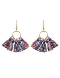 Bohemia Multi-color Tassel Decorated Earrings