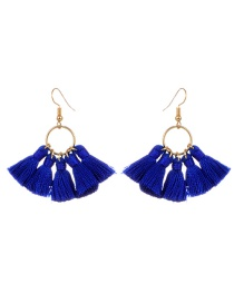 Bohemia Sapphire Blue Tassel Decorated Earrings