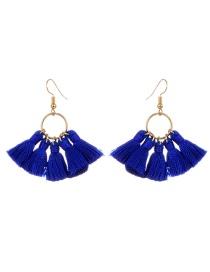Bohemia Sapphire Blue Tassel Decorated Earrings
