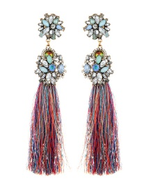Vintage Multi-color Oval Shape Diamond Decorated Tassel Earrings