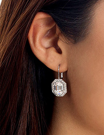 Elegant White Square Shape Diamond Decorated Earrings