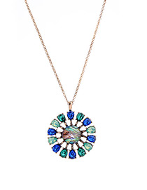 Elegant Blue Oval Shape Diamond Decorated Long Necklace