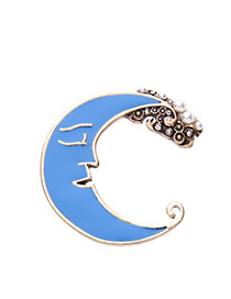 Vintage Blue Moon Shape Decorated Brooch