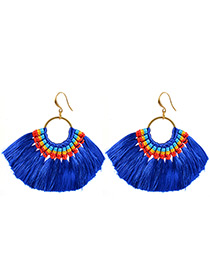 Bohemia Blue Color-matching Decorated Tassel Earrings