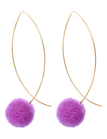 Lovely Purple Fuzzy Ball Decorated Pom Earrings