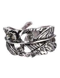 Personality Silver Color Metal Leaf Decorated Opening Ring