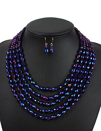 Elegant Purple Oval Shape Decorated Jewelry Sets