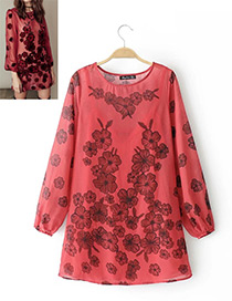 Fashion Red Flower Shape Decorated Blouse